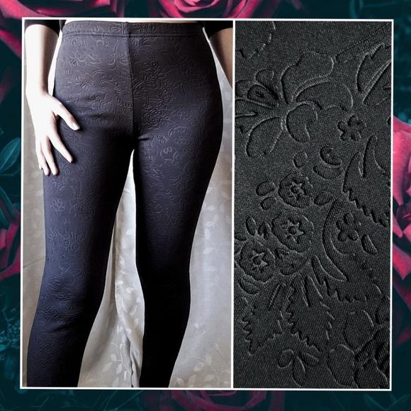 e9b71f6851d0b Xhilaration Pants   Black Floral Embossed Leggings Medium   Poshmark